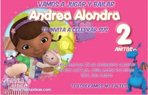Doctora Juguetes lindas invitaciones de cumpleaños