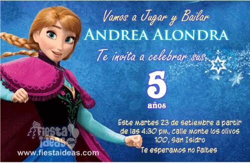 Frozen: invitaciones de cumpleaños de Anna para imprimir