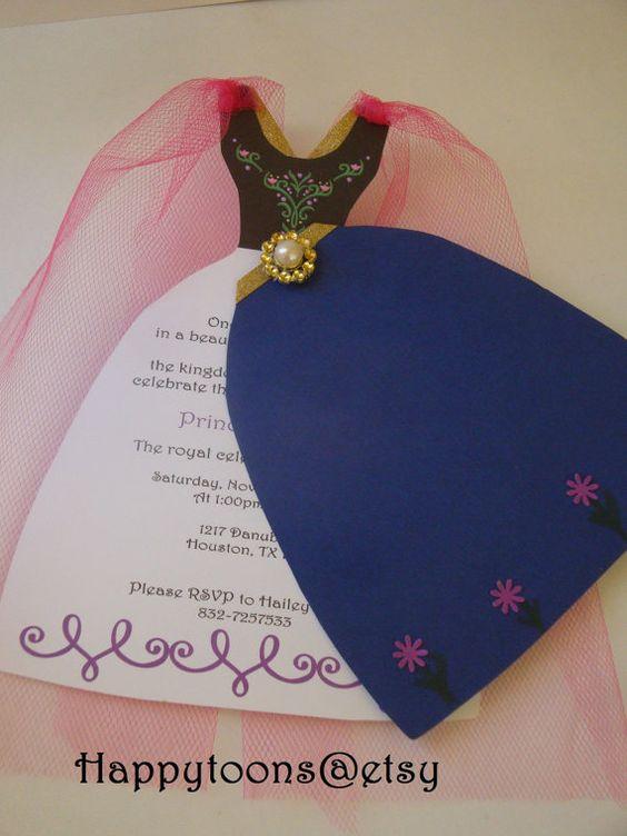 invitacion echa a mano de frozen y su vestido