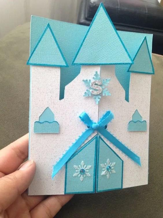 invitacion de frozen echa a mano en forma de castillo