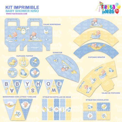 Kit imprimible de Baby Shower para niño - imprimelo gratis