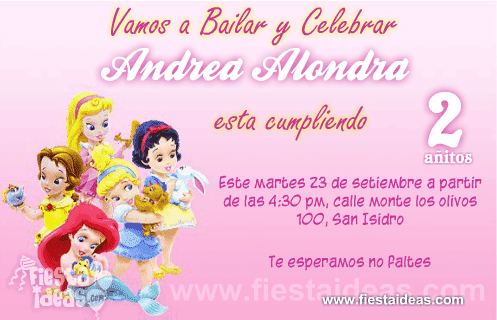 Invitaciones Princesas Disney Baby - Bebes
