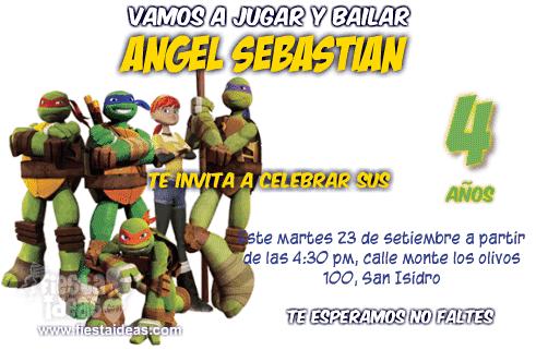 Nuevas invitaciones de las Tortugas Ninja para imprimir