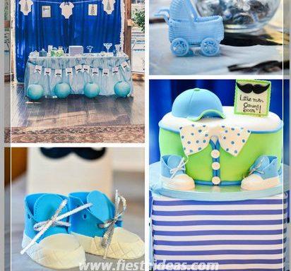 Baby shower para ni o con hermosas decoraciones - Decoracion de baby shower nino ...