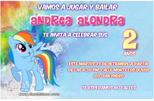 Invitaciones de Rainbow Dash de My Little Pony listas para imprimir