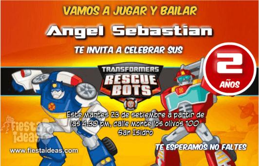 Invitaciones de Transformers Rescue Bots