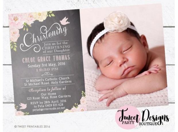 Invitaciones para bautizo niña con foto
