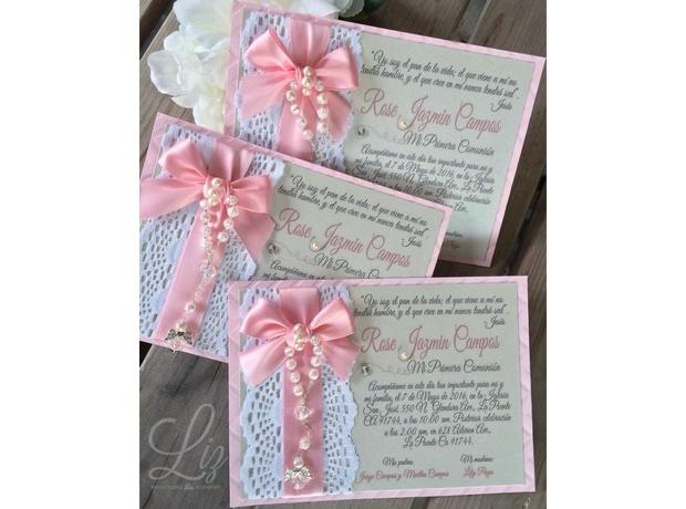 invitaciones para bautizo con lazo rosa