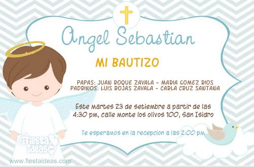 invitaciones para bautizo de niño color celeste