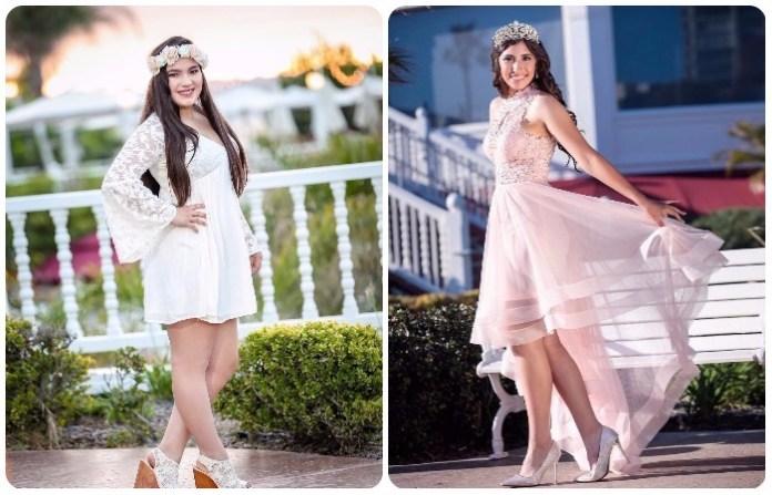 Diseños de Vestidos Cortos para 15 años rosa y blanco