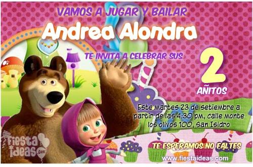 invitaciones de masha y el oso para crear en linea