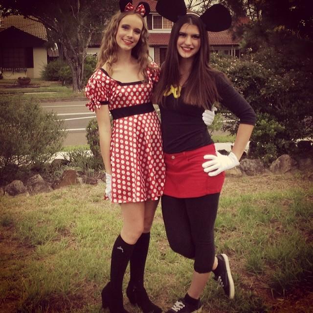 Disfraz de minnie y mickey de halloween para parejas mujeres