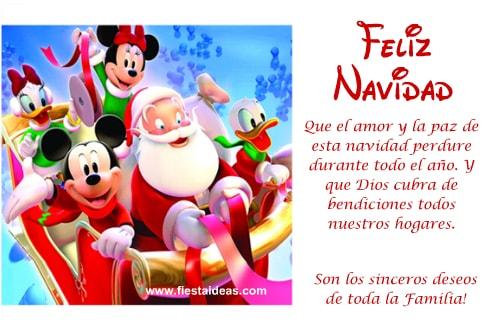 tarjeta navideñas virtual de mickey y papa noel