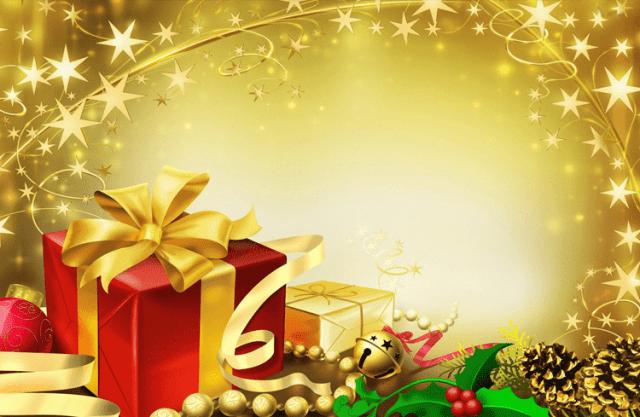 Imagen tarjeta de navidad con cajas de regalo doradas