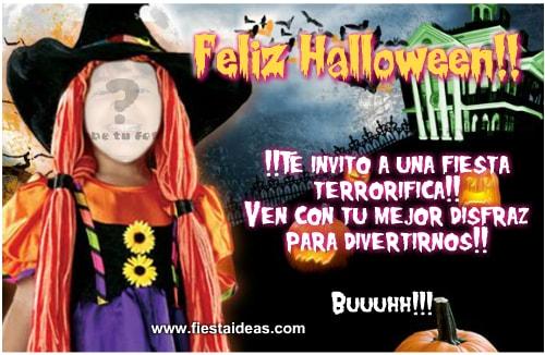 Invitaciones de halloween con foto para editar