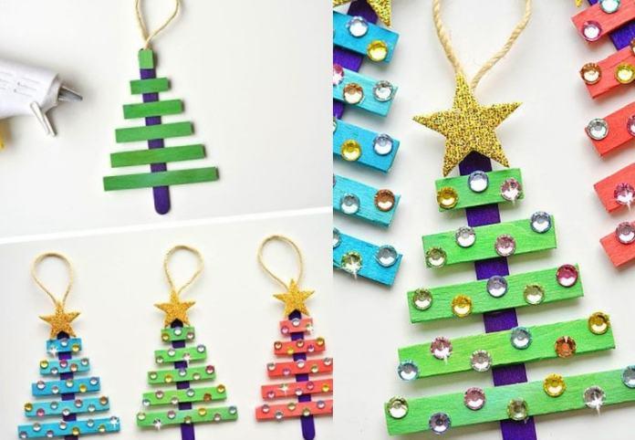 manualidades navideñas para niños arbolitos de paletas