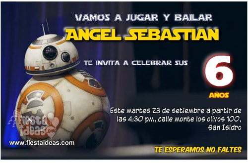 5 invitaciones de STAR WARS: Diseños originales (Editables 2018)