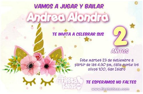 invitaciones de unicornio con flores para personalizar