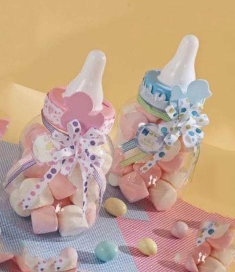 Recuerdos para baby shower con biberones llenos de dulces