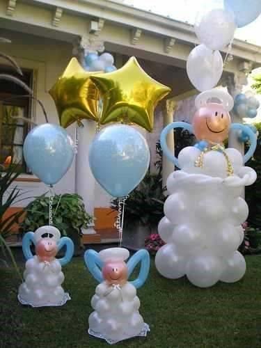 Angelitos de globos para bautizo