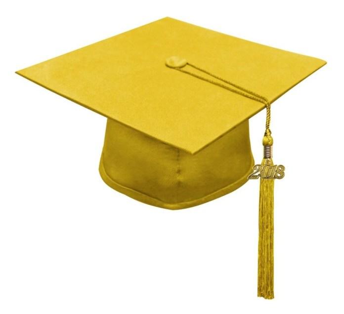 Imágenes de birretes de graduación dorado amarillo