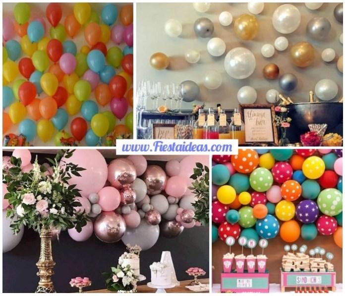 Decoración con globos pegados en la pared