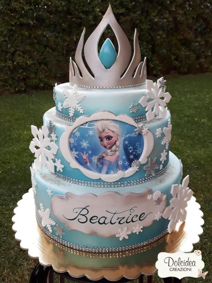 Espectacular Torta de Frozen con corona de hielo