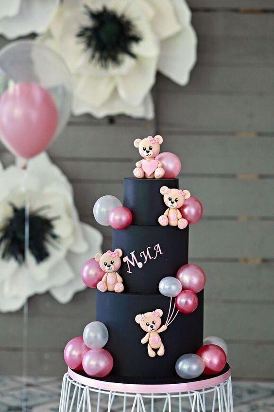 Tortas de baby shower para niña con ositos