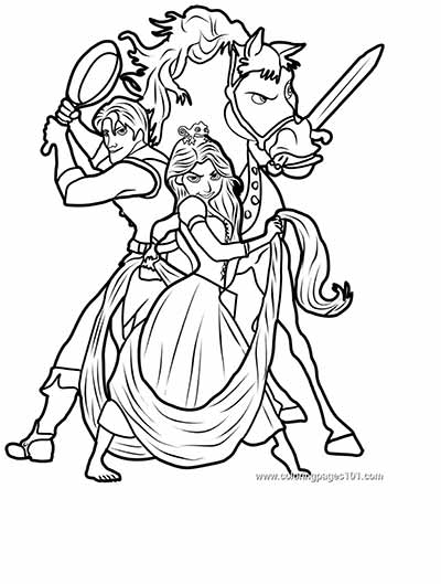 Dibujos para Colorear de Princesas Rapunzel personajes