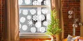 Manualidad de Ventanas Decoradas de Navidad sala