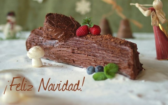 Receta Tronco navideno de chocolate decorado