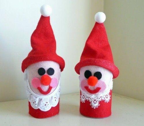 originales Muñecos navideños hechos con rollos de papel