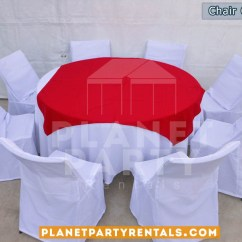Chair Covers And Tablecloth Rentals Round Oversized Swivel Cover Party Tents Tables Chairs Jumpers White With Table Cloth Red Overlay Runner