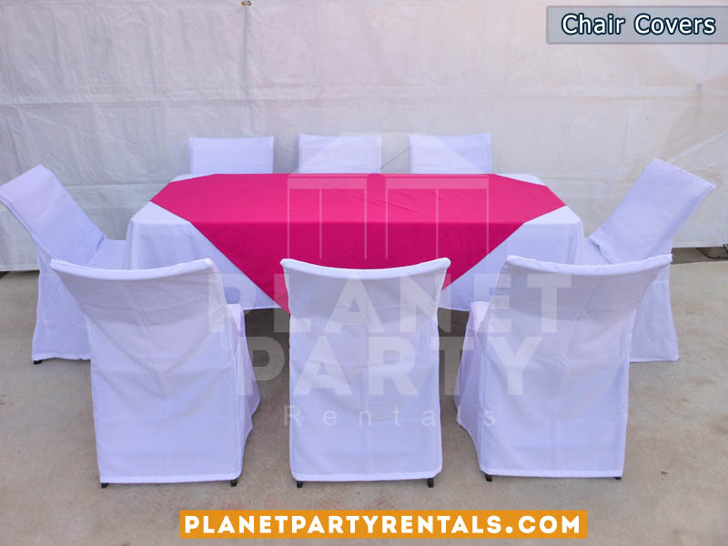 chair cover and tablecloth rentals leopard camping party tents tables chairs jumpers white covers with rectangular table cloth pink overlay runner san fernando