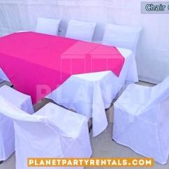 Chair Covers And Tablecloth Rentals Gaming With Monitors Cover Party Tents Tables Chairs Jumpers White Rectangular Table Cloth Pink Overlay Runner San Fernando