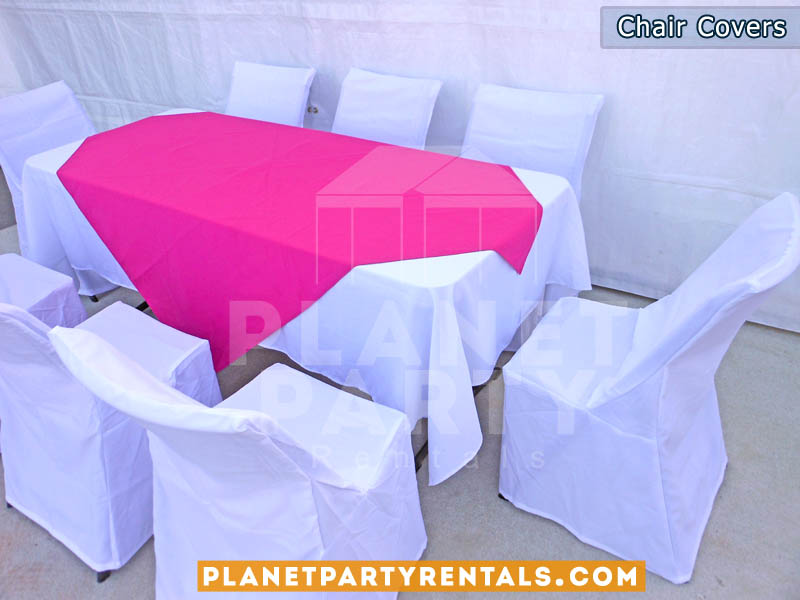 chair covers rental cheap caster dining room chairs cover rentals party tents tables jumpers white with rectangular table cloth pink overlay runner san fernando