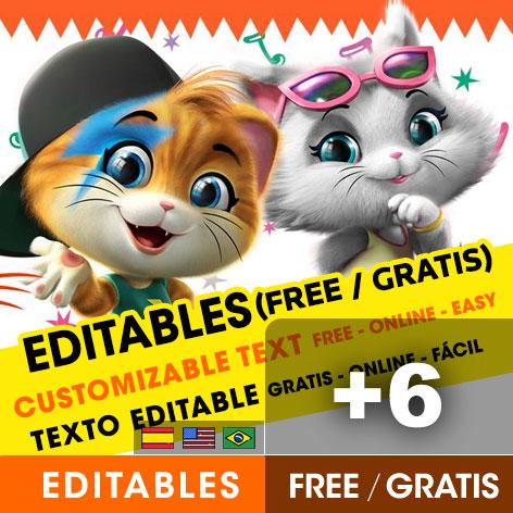6 free 44 cats birthday invitations