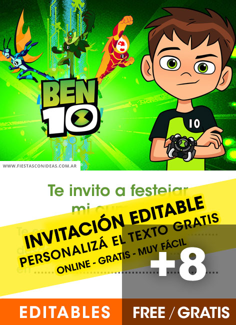 8 free ben 10 birthday invitations for