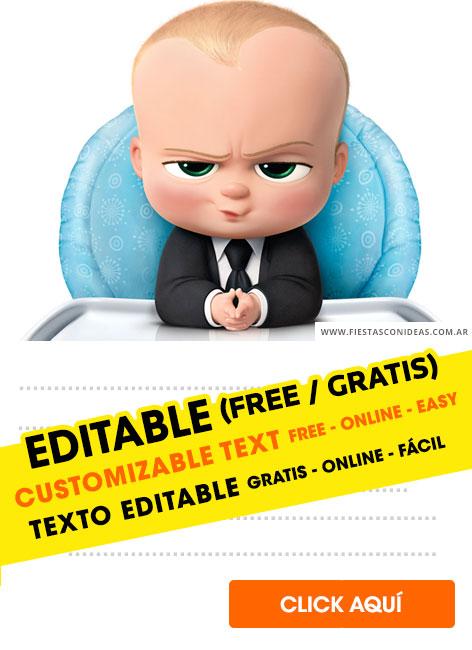 free the boss baby birthday invitations