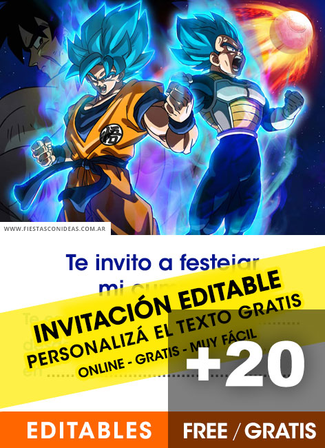 20 Free Dragon Ball Birthday Invitations For Edit Customize Print Or Send Via Whatsapp Fiestas Con Ideas
