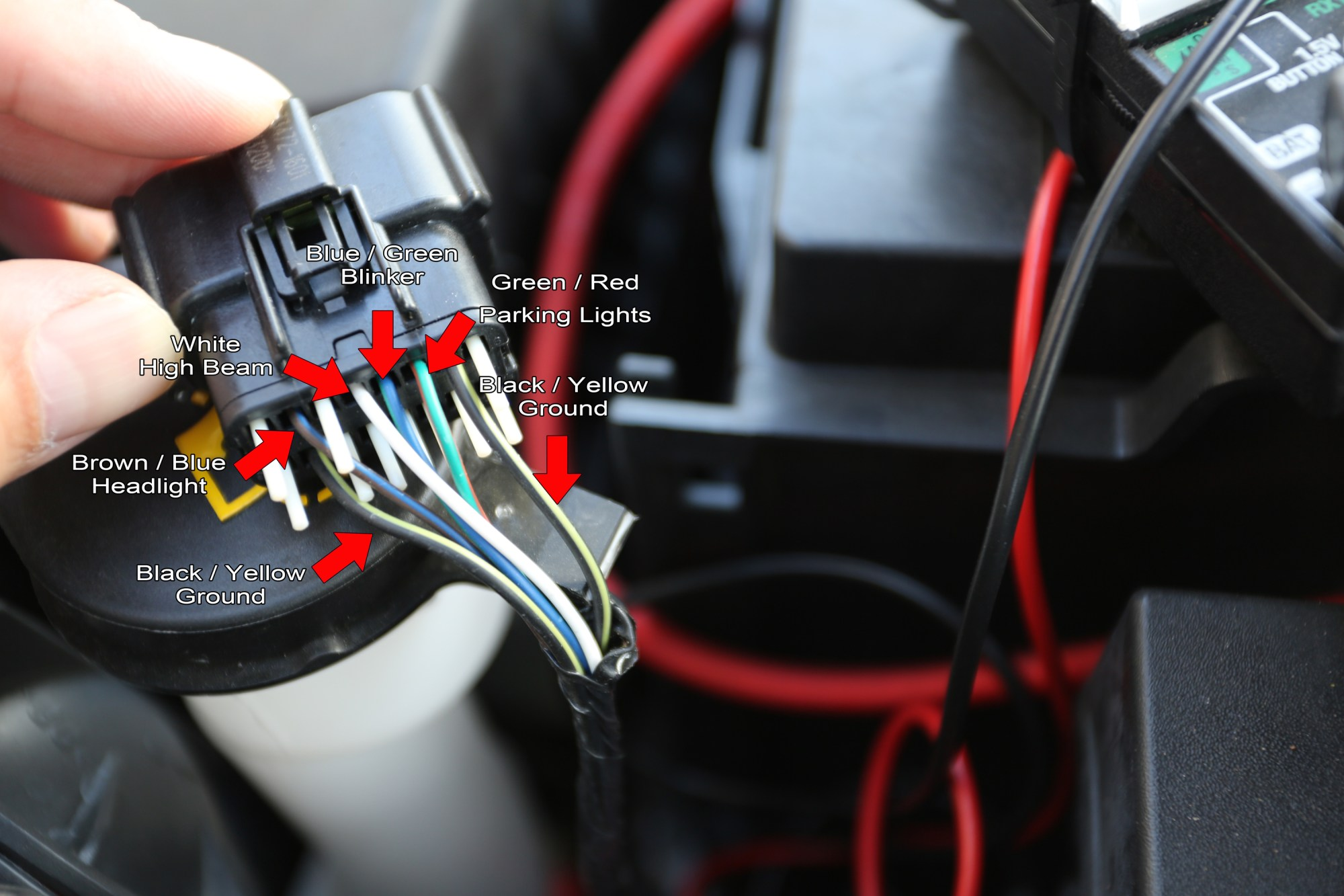 hight resolution of green red wire parking lights black yellow wires ground brown blue wire head light white wire high beam