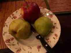 Eindelijk zondagavond aan de eerste geredde peren begonnen, en een appel van Boer Pait Peter Hoogendonk — bij Fietsen voor m'n eten.