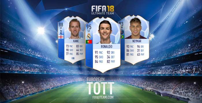 FIFA 18 European Team of the Tournaments (TOTT)