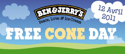 Aujourdhui, cest Ben & Jerrys qui régalent !   logo freeconeday 2011