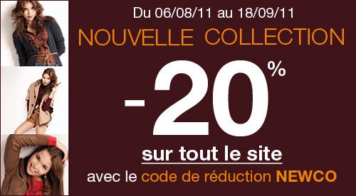 Mim :  20% sur le site et en magasin   newco