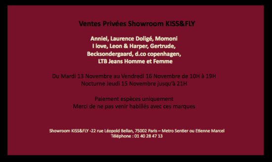 Vente privée Aniel, Laurence Doligé... au showroom Kiss&Fly   showroom kiss fly 550x328