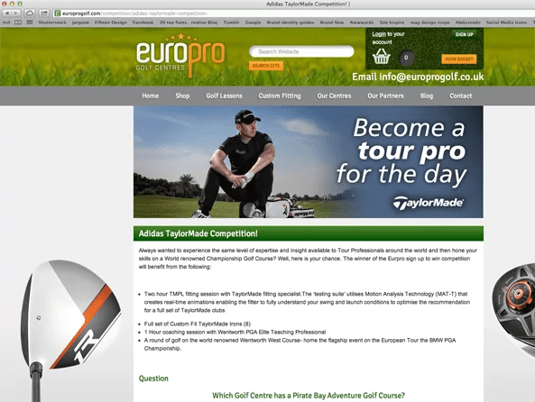EuroPro Golf Centres and Taylormade website 2