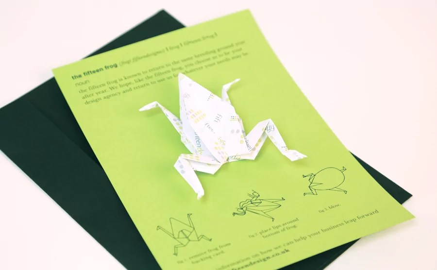 direct mail marketing origami frog 1