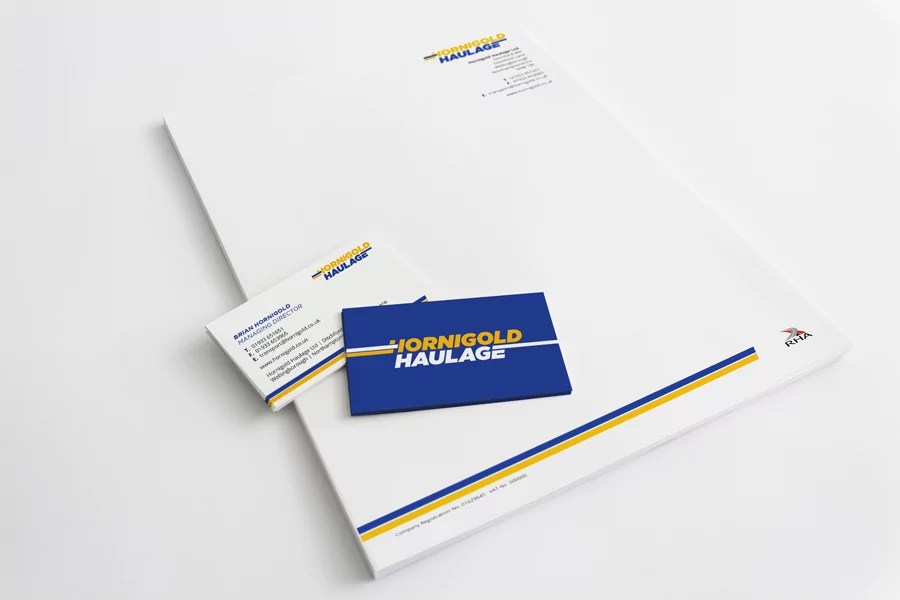 Hornigold Haulage Business Stationery Design Nottingham