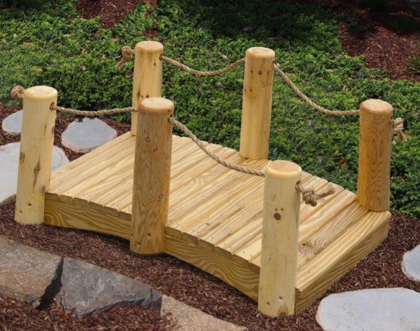 Treated Pine Mini Rope Rail Bridge